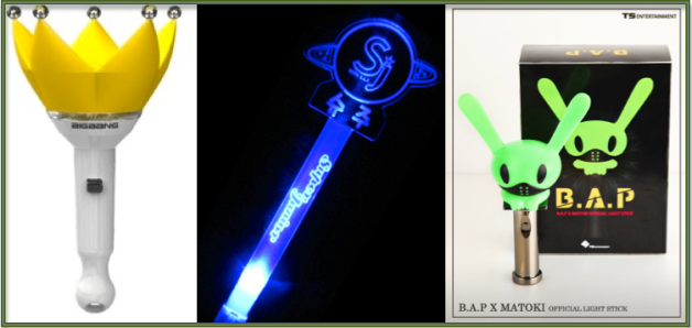 The official fan lights of Big Bang, SuJu and B.A.P.