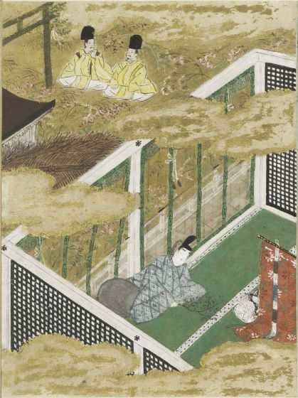 Genji brings a branch of the sakaki tree and hopes so  to keep his mistress from leaving - harvardartmuseums.org