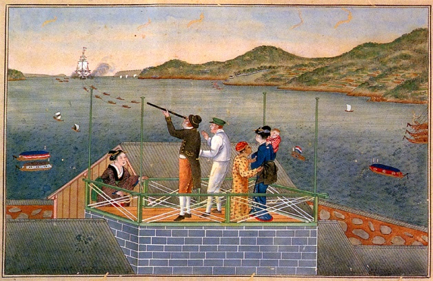 Philipp Franz von Siebold watching an incoming Dutch ship at Dejima