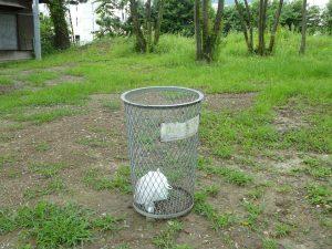 A very lonely bin.