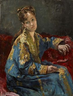 """""""Jeune fille portant un kimono"""" by Alfred Stevens, ca. 1872."""