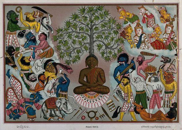 800px-Buddha,_resisting_the_demons_of_Mara,_Wellcome_V0046085