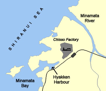 map of chisso's location and wastewater outlet - wikimedia commons